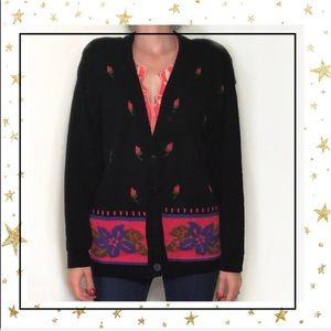 Black Floral ugly sweate cardigan Size Large  (C3)